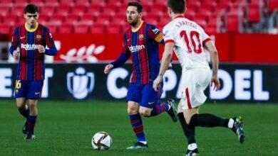 إشبيلية يحقق فوزا غاليا علي برشلونة في ذهاب كأس الملك
